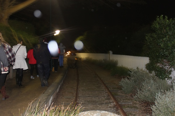 Orbs on the old tramline.